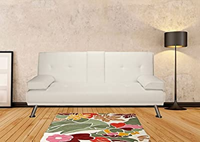Stylish Vienna Sofa Bed in White Faux Leather - Bedroom / Living Room / Lounge Furniture Great for Small Spaces FREE DELIVERY!