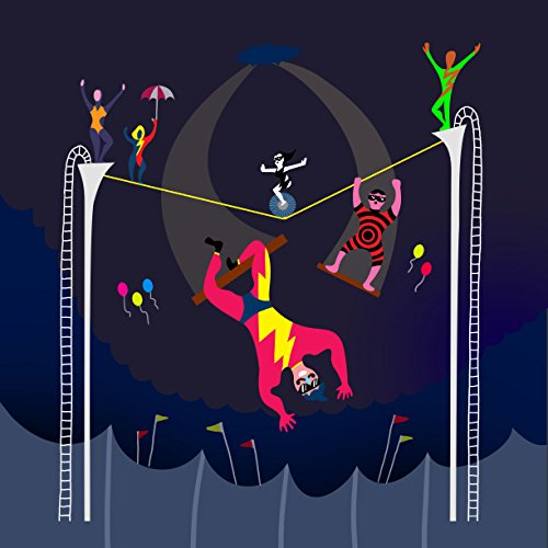 """""""Acrobats At Circus"""" Colorful Artwork - Vinyl Sticker front-1064047"""