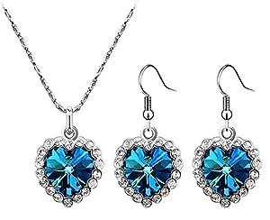 VIKI LYNN - Parure de bijoux 3 pièces - pendentif et boucles d'oreilles Coeur de l'Océan en cristal - chaîne 45 cm