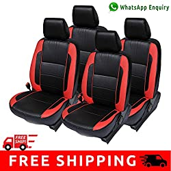 Autofact Brand PU Leatherite Car Seat Covers for Maruti Car 800 Old Model in Black and Red