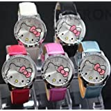 Yong Zhang New Free Shipping, 5pcs Hello Kitty Large Face Quartz Watch 5 Color Christmas Gift Pink + Wipe Cloth Watches