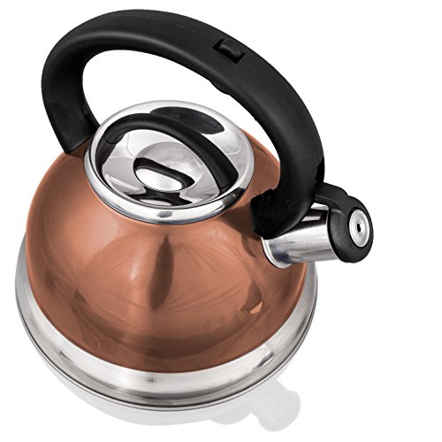 Stainless Steel Whistling Tea Kettle or Tea Maker w/ Encapsulated Base 2.8 Liter (Copper) (Copper Kettle compare prices)