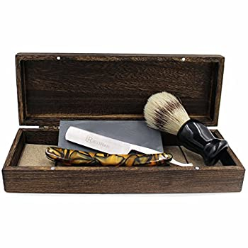 Vintage Cut Throat Straight Razor Black Yellow Acrylic Handle Bristle Shaving Brush Natural Whetstone and Wooden Box Set with Gift Bag