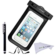 Black Waterproof Case Cover Pouch with IPX8 Certificate for a Range of Phones Including iPhone 5 5G / Samsung Galaxy S4 / Samsung Galaxy S3 / Samsung Galaxy S2 / iPhone 4 4S / iPhone 3G, 3GS / iPod Touch 3, 4, 5 / HTC ONE X / HTC ONE S Z520E / HTC Windows Phone 8X (AT&T, T-Mobile, Verizon) / Samsung galaxy S3 Mini / Blackberry Q10, Blackberry Z10, Blackberry Bold Touch 9900, Touch 9930 / Motorola DROID RAZR (Verizon) / LG NEXUS 4 (E960) / LG P760 / Nokia Lumia 920,Nokia 820 (AT&T) - One Stylus & ECO-FUSED Microfiber Cleaning Cloth included(Black)