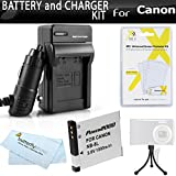 Battery And Charger Kit For Canon PowerShot A3300 IS, A2200 IS, A3100 IS, A3000IS Digital Camera Includes Extended (1000Mah) Replacement Battery For NB-8L + AC/DC Charger + Screen Protectors + More