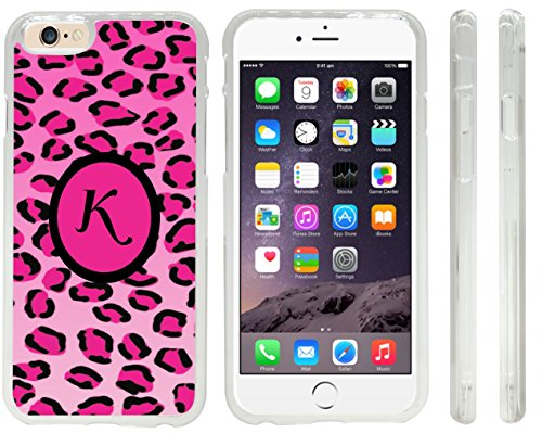 "Rikki Knighttm Letter ""K"" Initial Hot Pink Leopard Print Monogrammed Design Iphone 6 Case Cover (Clear Rubber With Front Bumper Protection) For Apple Iphone 6 front-664044"