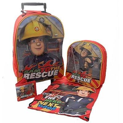 Trade Mark Collections Fireman Sam Travel Set includes Wheeled Bag/ Backpack/ Trainer Bag/ Wallet