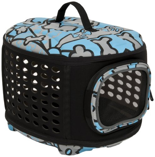 Petmate 21786 Curvations Cat And Dog Retreat Kennel And Carrier, Blue/Gray front-53196