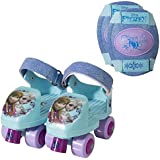 Frozen Kids Glitter Rollerskate, Junior Size 6-12 with Knee Pads