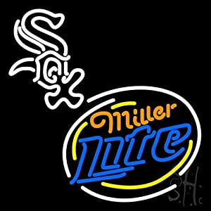 "Miller Lite Chicago White Sox Outdoor Neon Sign 31"" Tall x 24"" Wide x 3.5"" Deep"
