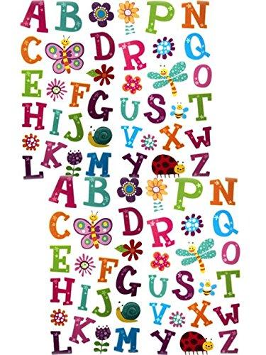 Set of 2 Kids Room Flower Alphabet Wall Mural Stickers