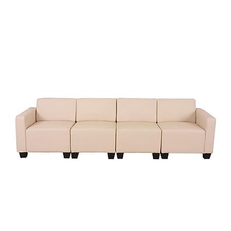 Canapé 4 places lounge/salon Lyon, système modulaire, simili-cuir, crème