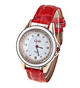 CaiQi Women Water Resistant Watch Red Leather Band Wrist Watch 598