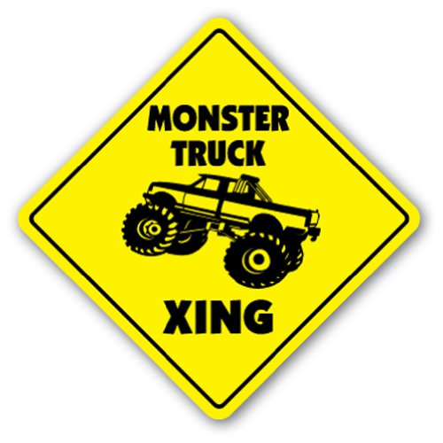 MONSTER TRUCK CROSSING Sign xing gift novelty jump race cage tires big foot