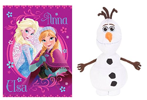 Disney Frozen Loving Sisters Micro Raschel Throw Blanket And Olaf Cuddle Pillow - 2 Piece Set (Ships Together) front-86253