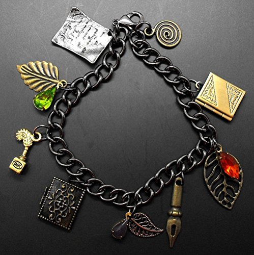 Author Book Locket Charm Bracelet