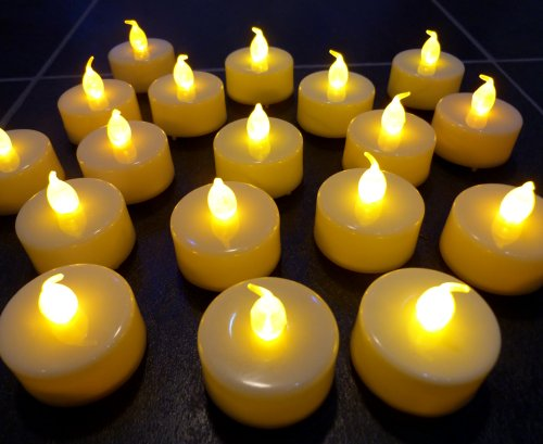 LEDER® SET OF 20 LED BATTERY TEA CANDLE LIGHTS IN WHITE ** IDEAL FOR WEDDINGS, HOMES, CHRISTMAS, ETC **