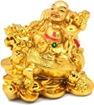 JaipurCrafts Laughing Buddha With Coins Showpiece 7.62 cm