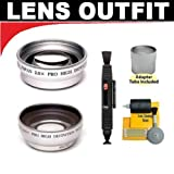 2x Digital Telephoto and 0.45x Digital Wide Angle Macro Professional Series Lens (52mm) + 5 Piece Cleaning Kit + Adapter Tube for Olympus SP-550 SP-560 and SP-570 UZ Digital Camera