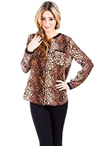 Loose Fitting Cheetah Print Blouse