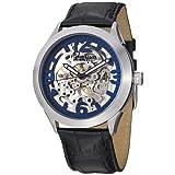 Reloj Stuhrling 765.02 Symphony Aristocrat Automático, esqueleto a la vista, dial azul y pulsera de cuero.