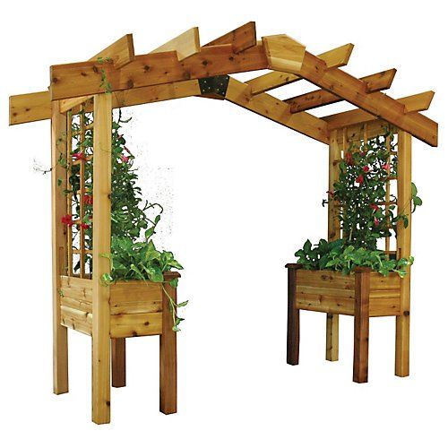 Gronomics PP2 18-34S 3-Feet by 10-Feet by 8-Feet Pergola Planter, Finished.