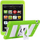 i-Blason All New Kindle Fire HD 7 Inch Tablet (2nd Generation) ArmorBox 2 Layer Convertible [Hybrid] Full-Body Protection KickStand Case with Built-in Screen Protector for Kids Friendly (Green/White)