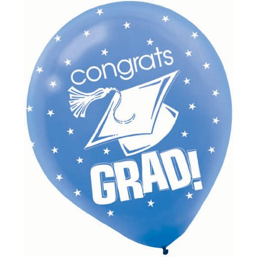 Amscan - Congrats Grad Blue With Stars Graduation Latex Balloons front-1050509