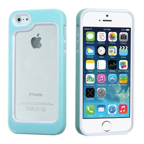 Mybat Iphone 5S/5 Mybumper Phone Protector Cover - Retail Packaging - White/Solid Baby Blue