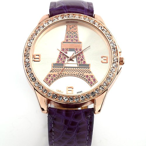 AMPM24 New Crystal Eiffel Tower Lady Women Girl Purple Leather Quartz Wrist Watch Gift