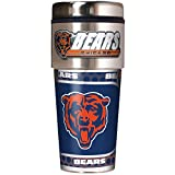 NFL Chicago Bears Metallic Travel Tumbler, Stainless Steel and Black Vinyl, 16-Ounce