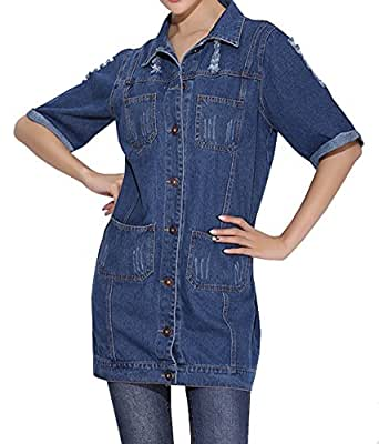Alralel Women Denim Turn Down Collar Long Jacket Half