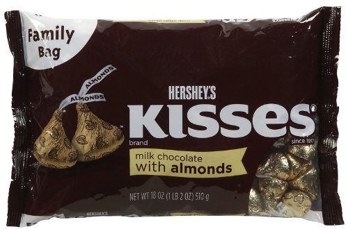 Hershey's Kisses Milk Chocolate With Almonds, 18-Ounce Bag