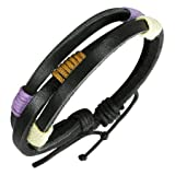 Black Leather Bracelet with Color Accents