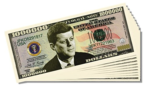 John F. Kennedy (JFK) Novelty Million Dollar Bill - 25 Count with Bonus Clear Protector & Novelty Christopher Columbus Bill