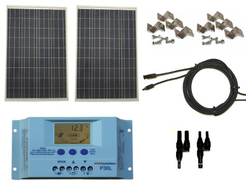 Windy Nation 200 Watt Solar Panel Complete Off-Grid Rv Boat Kit With Lcd Pwm Charge Controller + Solar Cable + Mc4 Connectors + Mounting Brackets