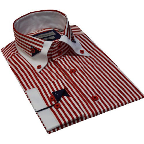 Italian Design High Collar Button Down Men Formal Casual Shirts Red Stripe