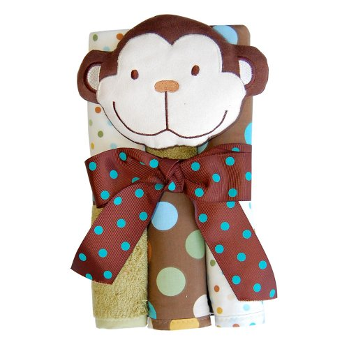 Nojo Jungle Tales Monkey 6 Pack Print/ Solid Woven Terry Washcloth and Toy Set