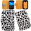 Wayzon White Leopard Organic PU Leather Wallet Flip Case Cover Skin Pouch Holster Built In Hard Plastic Phone Holder Housing For Blackberry Bold Touch 9900 Phone