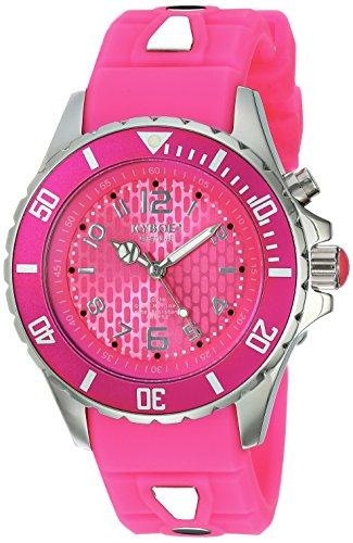 Kyboe. Silver Reloj analógico para mujer Quartz goma KY Rosa-044-40