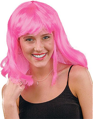 Mens Womens Child Costume Hot Pink 80s Flip Party Wig