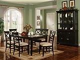 """6pcs """"X"""" Cross Back Design Black Finish Dining Room Set"""