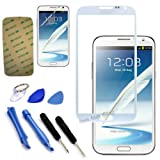 White original Outer Glass FOR Samsung Galaxy Note 2 N7100 i317 T889 N7105 N7102 Lcd lens (no digitizer touch) +sticker