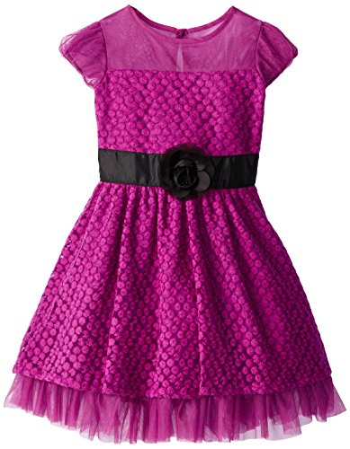 Us Angels Big Girls' Cap Sleeve Dress With Daisy Lace, Violet, 12 front-866308