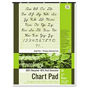 "Pacon 945610 S.a.v.e recycled chart pad, 1"" ruling, 5-hole punched, 24 x 32, 70 sheets/pad"