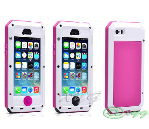 Best Price Newest Extreme Shockproof Waterproof Dust/Dirt Proof Aluminum Metal Gorilla Glass Military Heavy Duty Protection Cover case for Apple iPhone 5 5S 5G Home Key for Fingerprint @XYG (6-white/pink/black)