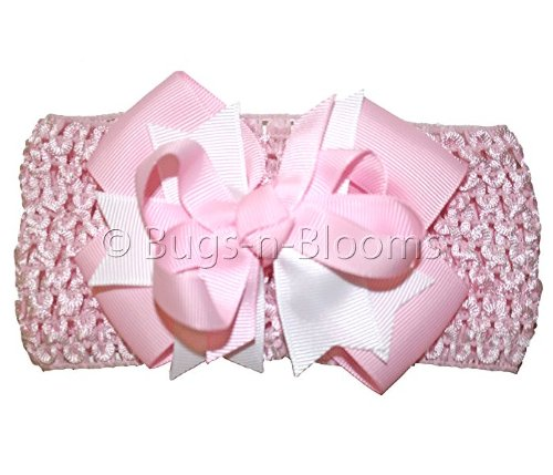 Pink & White Ribbons Bow Crochet Headband - girls child baby toddler apparel head hair band bow bows girl soft infant youth accessory