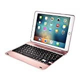 HIOTECH Wireless Bluetooth 3.0 Keyboard Case for iPad Air 2 / iPad Pro 9.7 Inches - ABS Material [78 Keys] with Auto Sleep / Wake Smart Case (Rose Gold)