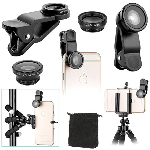 Neewer iPhone Camera Lens Kit Compatible with Other Smartphones,Accessory,Kit includes:(1)3-IN-1 Clip Lens Set (Fisheye Lens, Wide Angle and Macro Lens)+(1)Tripod 6″/15cm+(1)Phone Holder (BLACK)