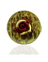 Aastha Jain Red Rose Sterling Silver(18k Gold Plated) Ring For Women